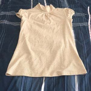 Champagne gold mock neck top sz L